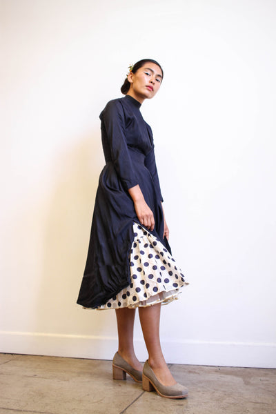 1950s Navy Silk Peekaboo Party Dress
