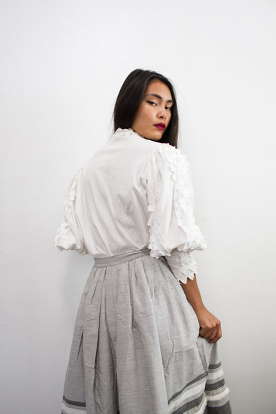 1970s Austrian Cotton Trimmed Blouse