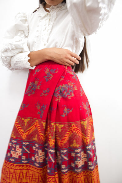1970s Indian Block Print Wrap Maxi Skirt