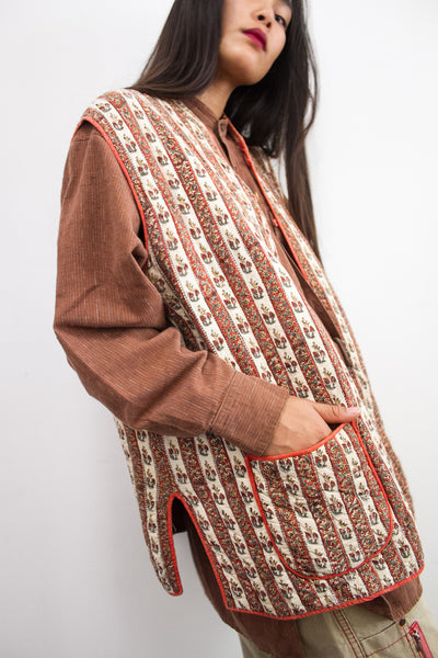 1970s Indian Paisley Quilted Reversible Vest
