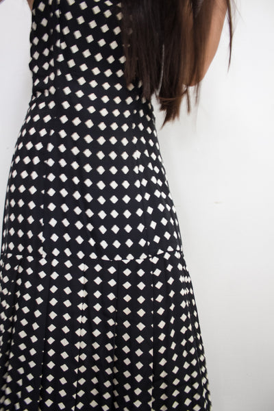 1980s Black Diamond Print Rayon Dress