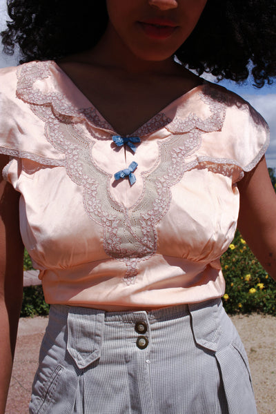 1940s Peach Satin Lace Evening Blouse