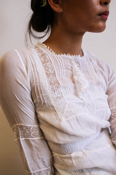Edwardian White Cotton Lawn Dress