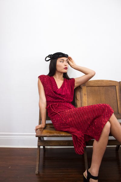 1970s Oxblood Red Velvet Dress