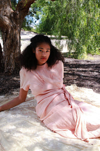 1940s Blush Pink Rayon Waist Tie Dress