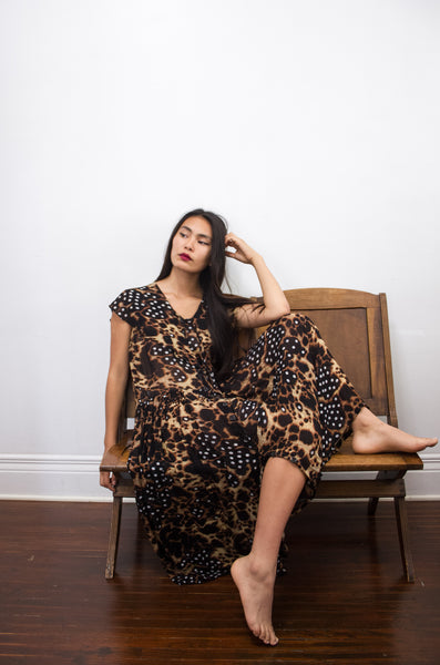 1970s Bila Mixed Print Leopard Rayon Dress
