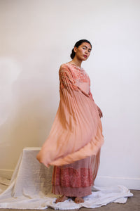 1920s Blush Chiffon Velvet Cape Dress