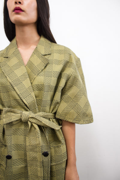 1980s Issac Mizrahi Plaid Chartreuse Blazer Dress