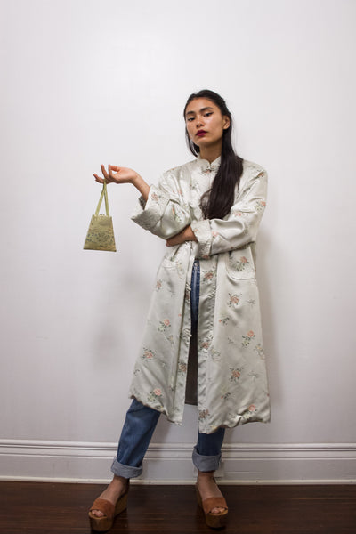 1970s Peony Satin Chinese Embroidery Duster Jacket