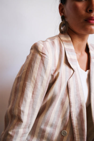 1980s Pastel Striped Linen Blazer