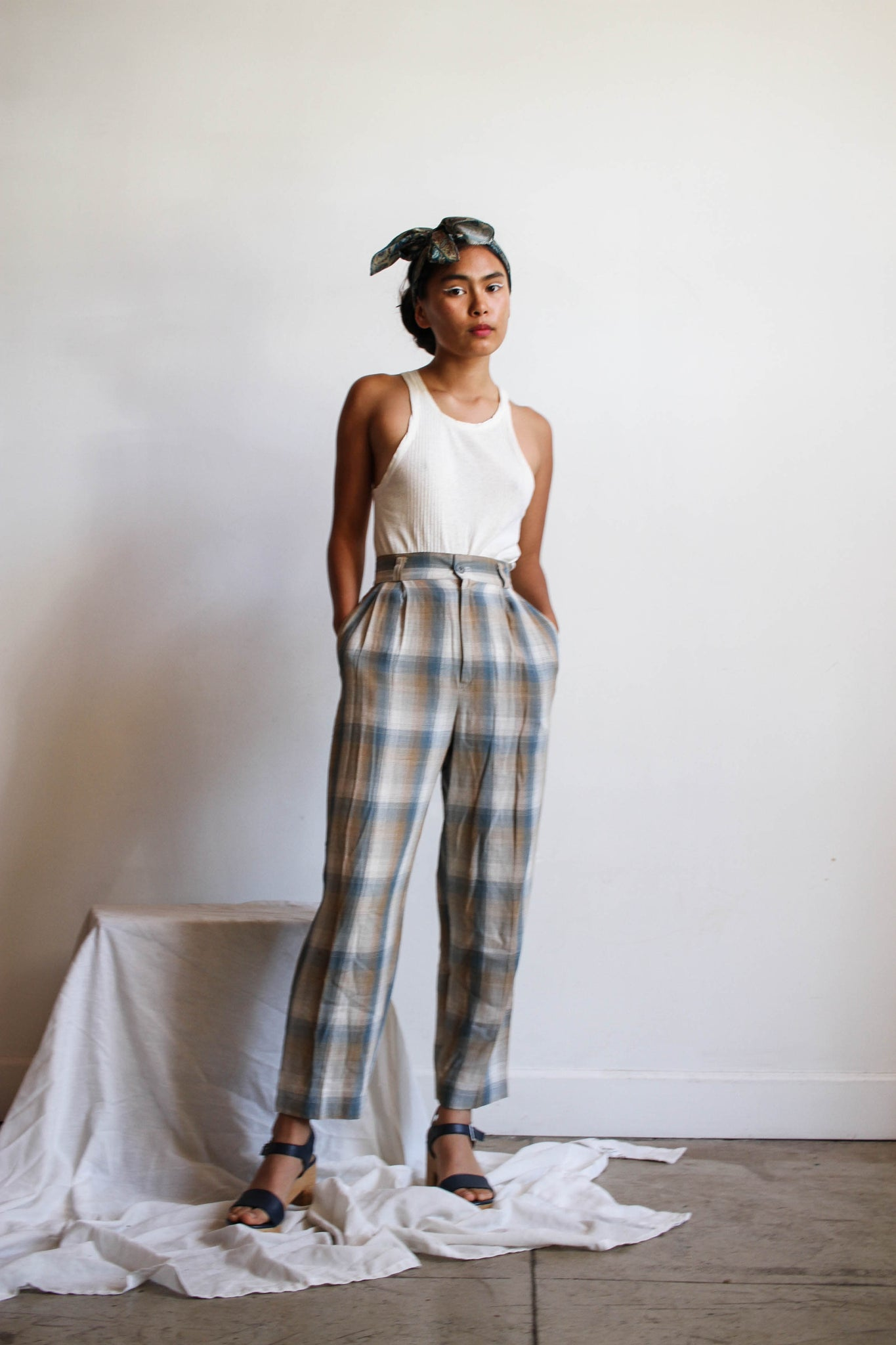 1980s Desert Blue Cotton Crop Trousers