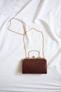 1950s Chocolate Leather Shoulder Bag