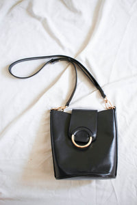 1990s Black Leather Banana Republic Bucket Bag