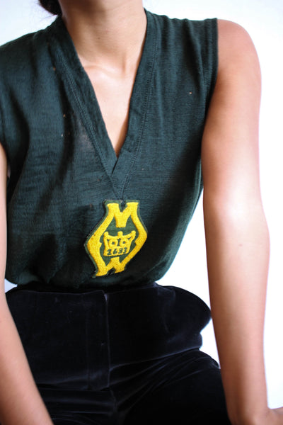 1940s Forest Green Wool Patch Tank