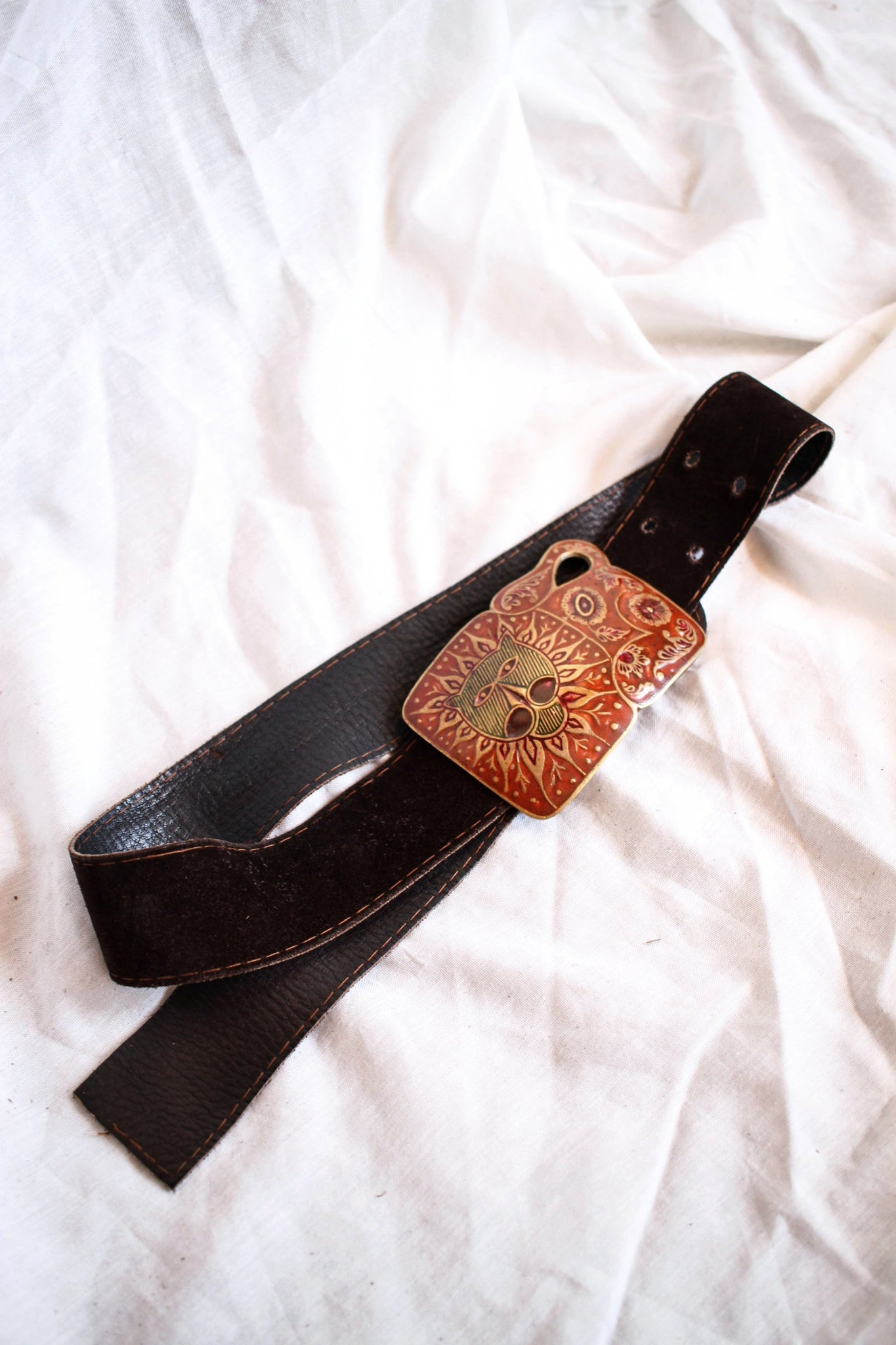 1970s Brown Suede Lioness Belt
