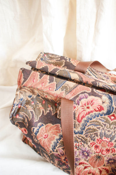 1970s Tapestry Luggage Weekender Bag
