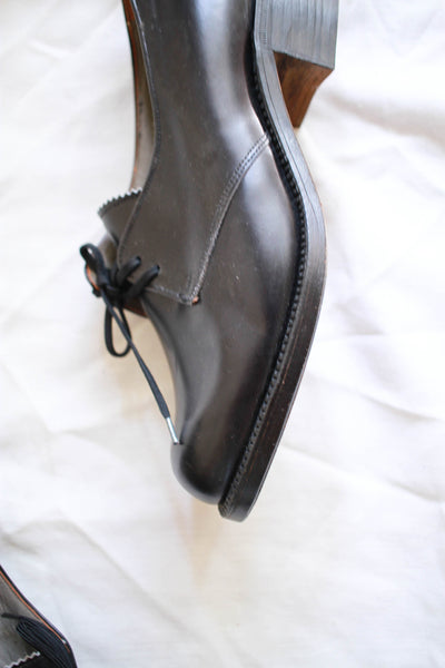 1930s Black Leather Oxford Shoes | 38
