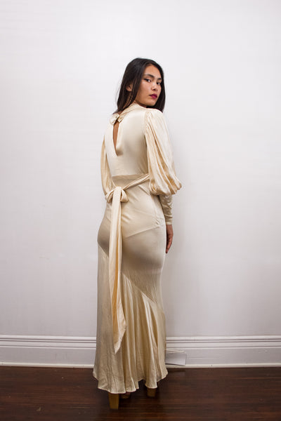 Antique Cream Liquid Bias Cut Gown