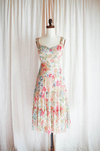 1990s Watercolor Floral Chiffon Dress