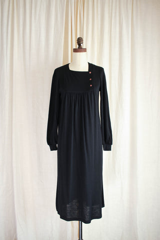 1970s Black Wool Joanie Char Dress