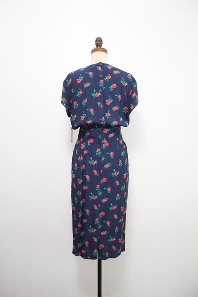 1980s Maggie London Rayon Navy Print Dress