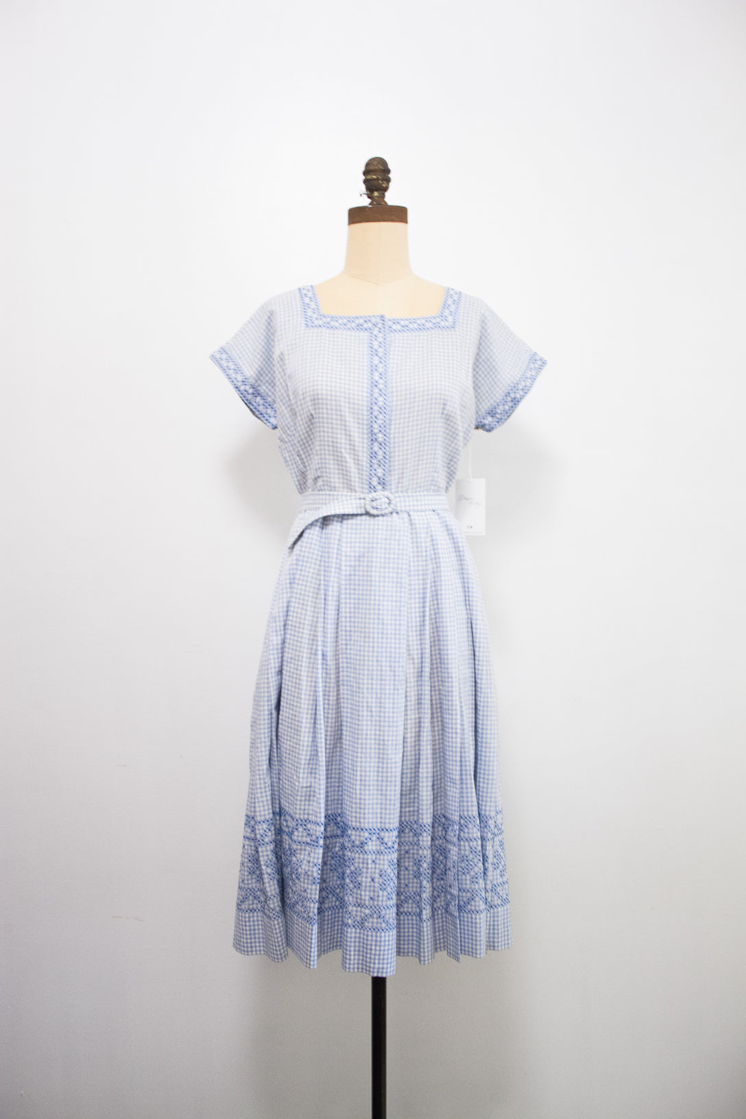 1950s Gingham Periwinkle Cotton Dress