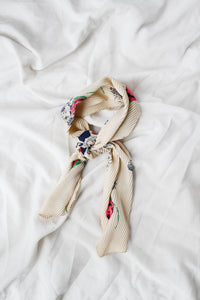 Cream Accordion Pleated Floral Scarf