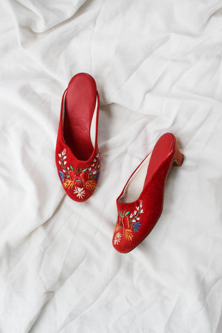 1940s Red Felt Embroidered Mules | 8