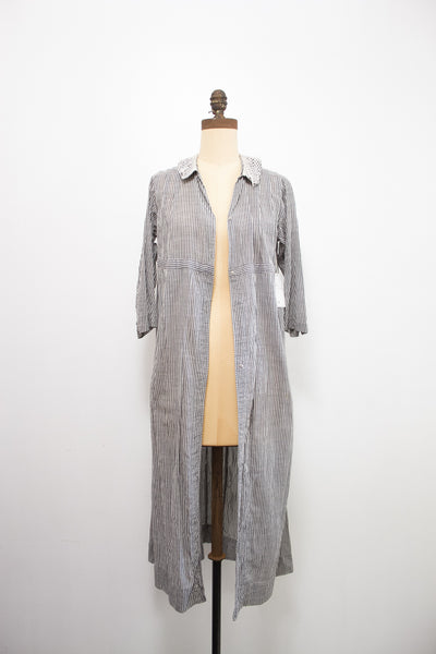 Antique Pinstripe Cotton Duster Jacket