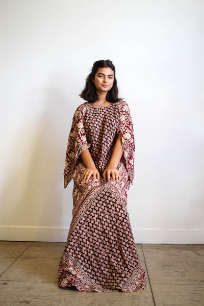 1970s Block Print Indian Cotton Boho Dress