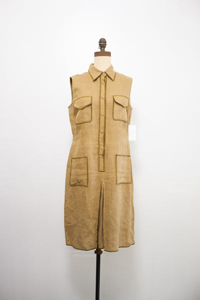 1980s Harvey Beene Safari Linen Dress