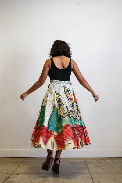 1940s Mexican Hand-Painted Wrap Circle Skirt
