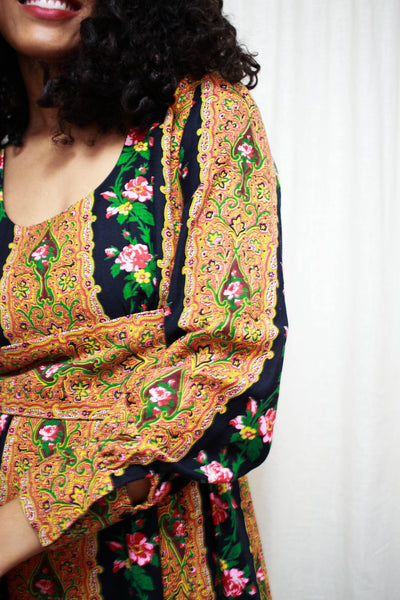 1960s Robert Courtney Paisley Floral Dress
