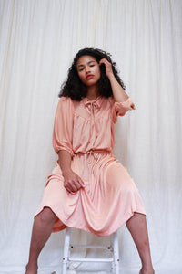 1970s Peach Dolman Knit Dress