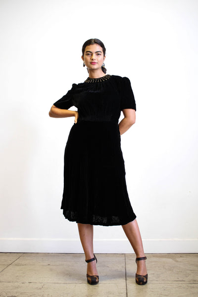 1940s Black Velvet Studded Collar Dress