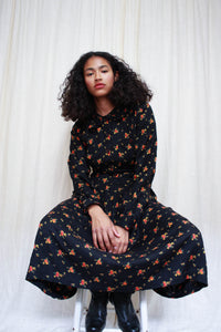 1980s Black Karavan Rayon Print Dress