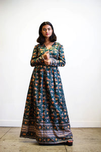 1970s Emerald Silk Print Maxi Dress