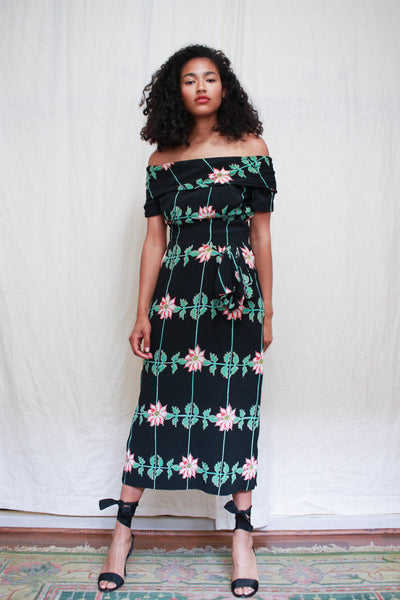 1940s Rare Cold Rayon Print Off Shoulder Gown