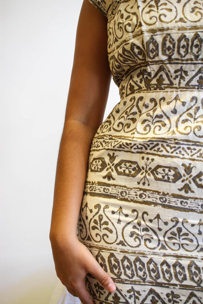 1950s Tiki Print Silk Wiggle Dress
