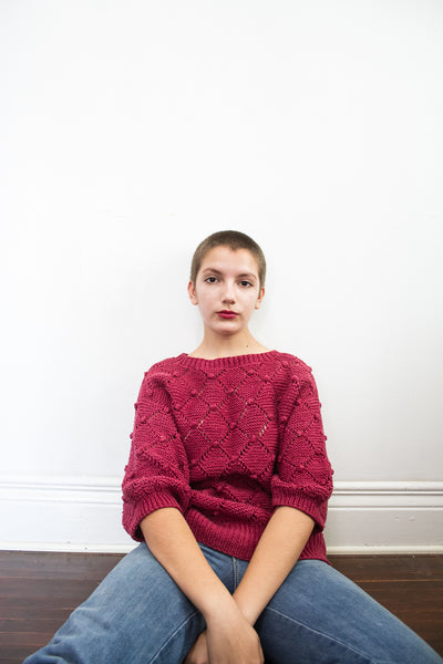 1980s Raspberry Popcorn Knit Sweater