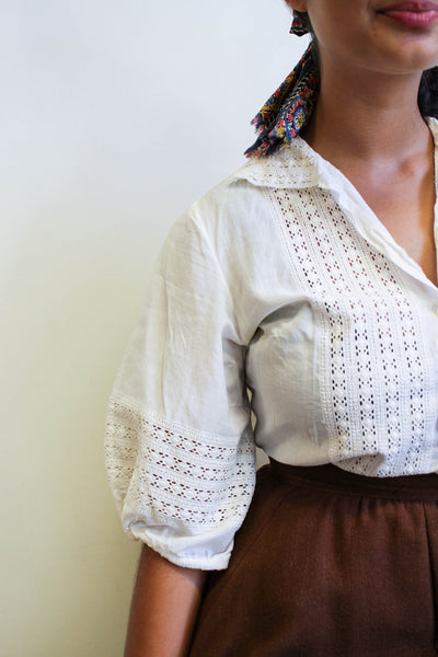 1950s White Cotton Embroidered Puff Sleeve Blouse