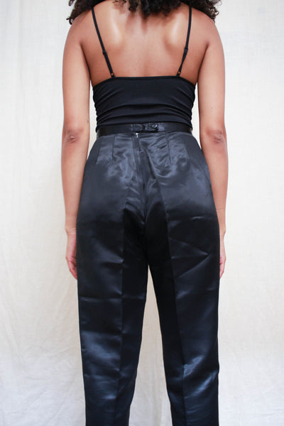 1960s Black Satin Cigarette Pants