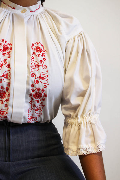 1970s Embroidered Romanian Blouse