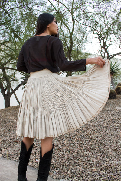 Antique Heavyweight Linen Accordion Wrap Skirt
