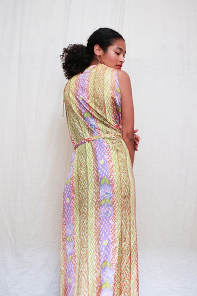 1960s Pastel Tiki Print Wrap Dress