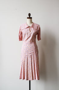 1930s Pink Feedsack Cloud Print Day Dress