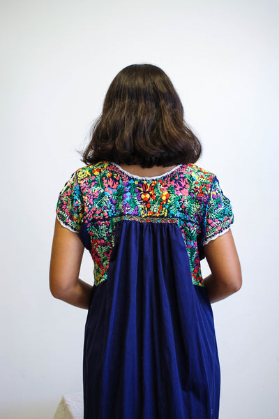 1970s Oxacan Embroidered Navy Dress