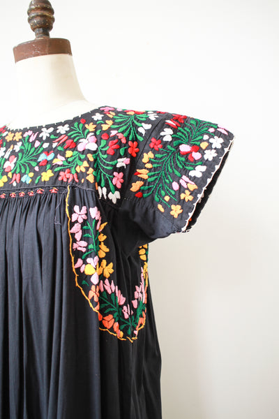 1980s Mexican Black Embroidered Dress