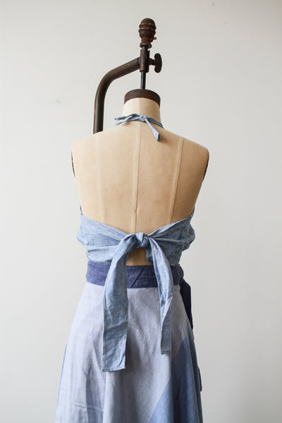 1970s Deadstock Indian Cotton Chambray Halter Top