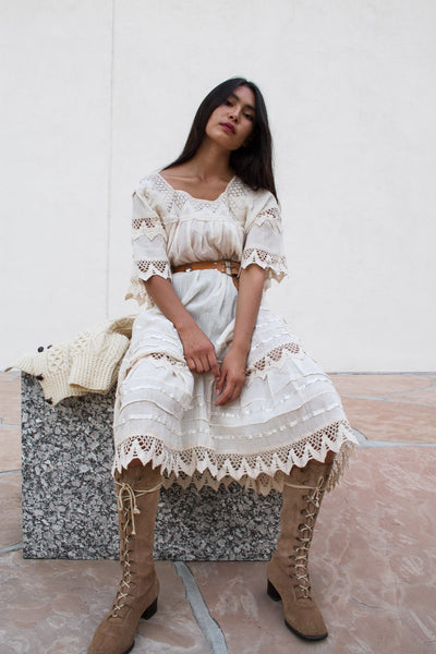 1960s Gauzy Cotton Tiered Boho Lace Dress